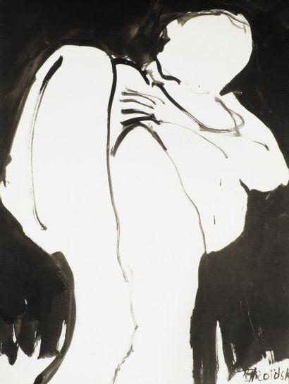 Robert NICOÏDSKI (1931-2001){CR}Nus{CR}2 dessins à l'encre.{CR}Signés.{CR}61 x 45...