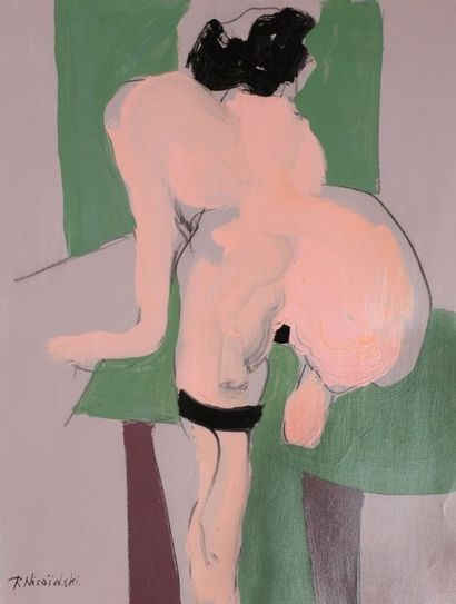 Robert NICOÏDSKI (1931-2001){CR}Nu aux bas{CR}Acrylique sur papier.{CR}Signée en...