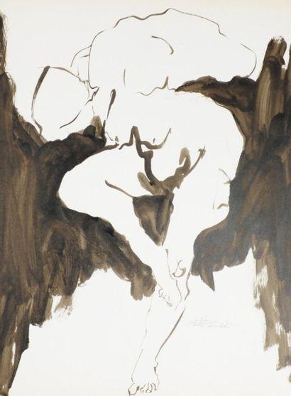 Robert NICOÏDSKI (1931-2001){CR}Études de nu{CR}3 dessins à l'encre.{CR}Signés.{CR}63...