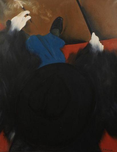 Robert NICOÏDSKI (1931-2001){CR}Femme au fume cigarette{CR}Huile sur toile.{CR}Signée...