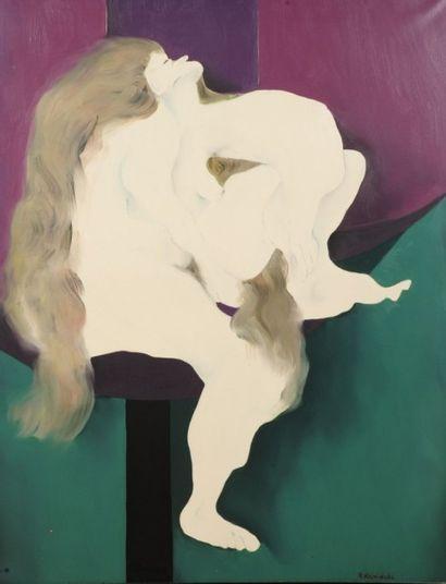 Robert NICOÏDSKI (1931-2001){CR}Homme au cigare{CR}Huile sur toile.{CR}Signée en...