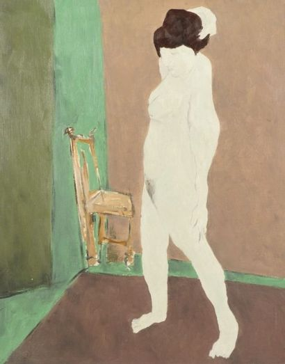 Robert NICOÏDSKI (1931-2001){CR}Nu à la chaise{CR}Huile...