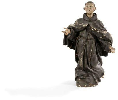 Saint moine en bois sculpté en ronde-bosse...