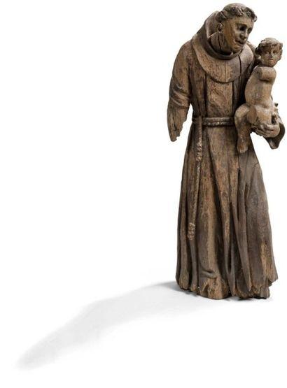 Saint Antoine de Padoue en bois sculpté....