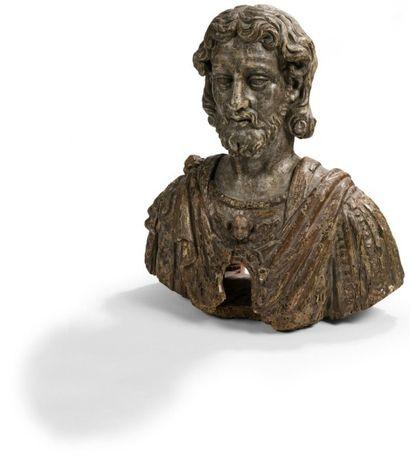 Buste reliquaire de saint en peuplier sculpté,...