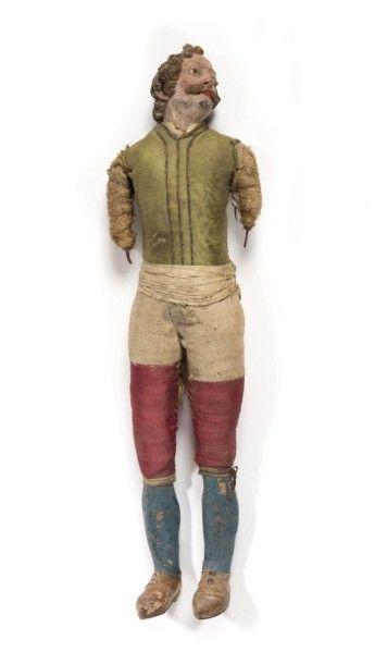 Santon napolitain en terre cuite et étoupe représentant un personnage masculin profane...