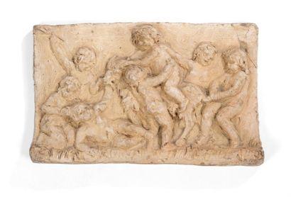 Esquisse en terre cuite, bas-relief représentant...