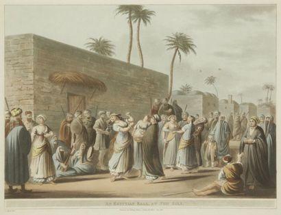 D'après Luigi MAYER (1755-1803), fin du XVIIIe siècle. Neuf vues d'Égypte. Lithographies...