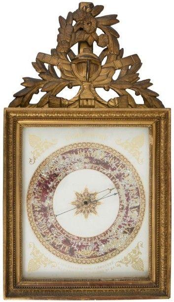 Baromètre en bois doré à décor de frise feuillagée,...