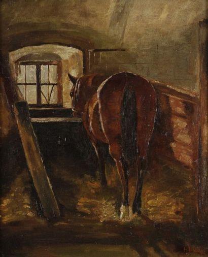 Heinrich LANG (1838-1891) Cheval à l'écurie Huile sur panneau. Signée en bas à droite....