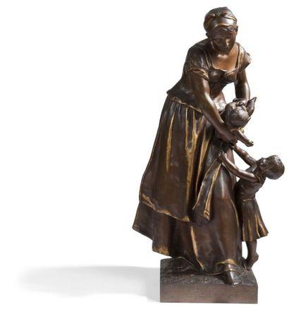 Jean-Paul AUBE (1837-1916) Paysanne et ses enfants épreuve en bronze patiné. Signée...