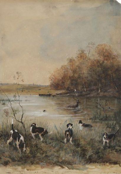 Comte René de BEAUMONT Scène de chasse au cerf, 1890 Aquarelle et gouache. Signée...