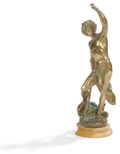 Figure de David en bronze verni, reposant...