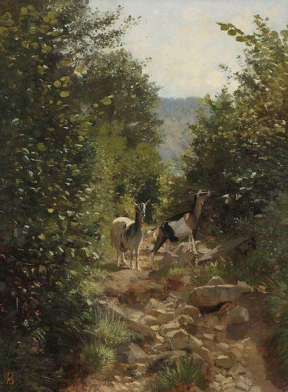 Auguste BONHEUR (1824-1884) Le Sentier, souvenir d'Auvergne, 1874 Huile sur toile....