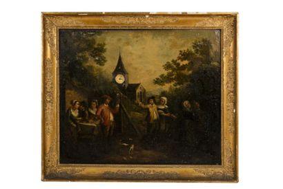 Tableau formant pendule représentant une scène villageoise, le cadran inscrit dans...