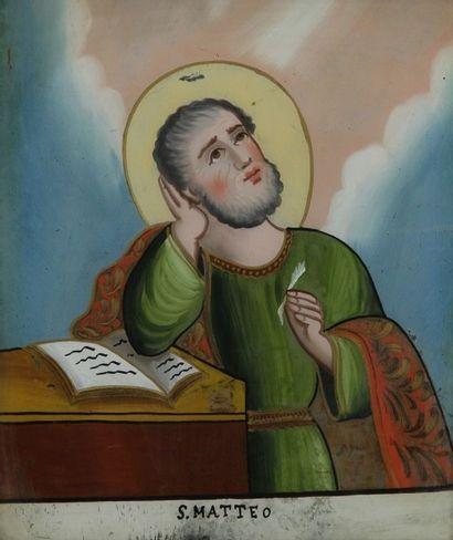 Ecole Italienne du XIXe siècle . Douze fixés sous verre à décor de saints personnages....