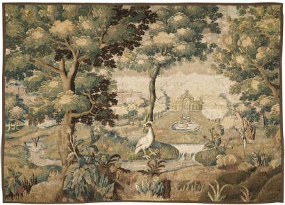 TAPISSERIE D'AUBUSSON à décor d'un volatile devant un paysage de château agrémenté...