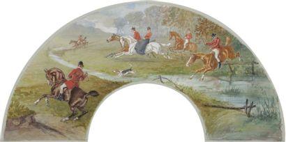 V. GODWILL (Actif en Angleterre au début du XXe siècle) Scène de chasse à courre,...