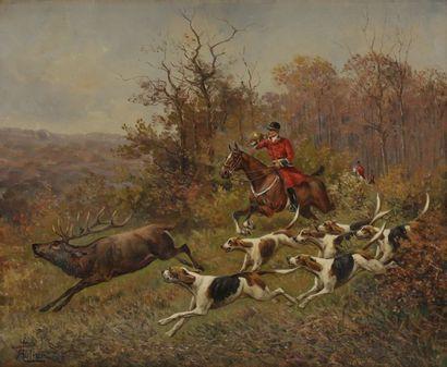 ROLIER (XXe siècle) Chasse à courre Huile sur toile. Signée en bas à gauche. 54 x...