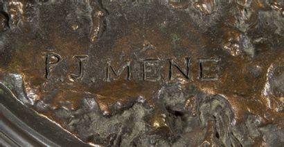 Pierre-Jules Mene (1810-1879) Chasse au cerf n°2. Modèle de 1844. Bronze à patine...