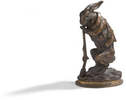 Alphonse-Alexandre ARSON (1822-1882) Lapin chasseur Bronze à patine cuivrée. Signé...