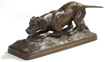 Joseph-Victor CHEMIN (1825-1901) Chien à l'arrêt Bronze à patine brune nuancée. Signé...