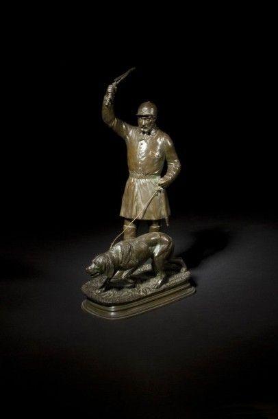 Edouard Paul DELABRIERRE (1829-1912) Le piqueux et son chien Groupe en bronze à patine...