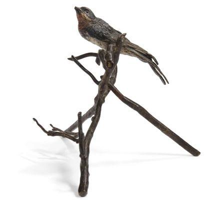 Bronze de Vienne Oiseau branché Bronze peint...