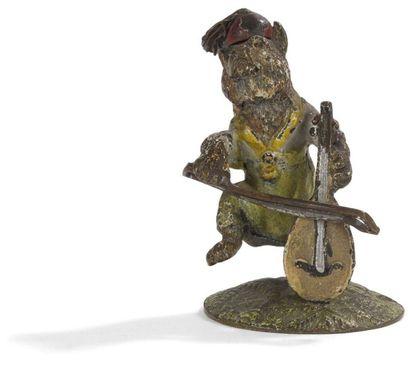 Bronzes de Vienne Ours musicien; Chat musicien;...