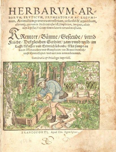 EGENOLFF (Christian) Herbarum, arborum, fructicum, frumentorum ac leguminum. Animalium...