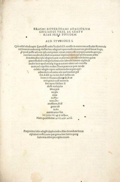 ERASME Adagiorum chiliades tres, ac centuriae fere totidem. Tübingen:Thomas Anshelm...