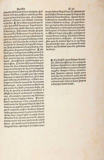 FROISSART (Jean) Le premier [-second, -tiers, -quart] volume de Froissart, Des croniques...