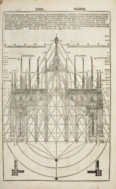 VITRUVE De architectura Libri Dece traducti de latino in Vulgare affigurati. Côme:Gottardo...