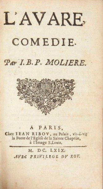 MOLIERE Les Oeuvres. Paris:Charles de Sercy (tome 1);Guillaume de Luyne (tome 2);Claude...
