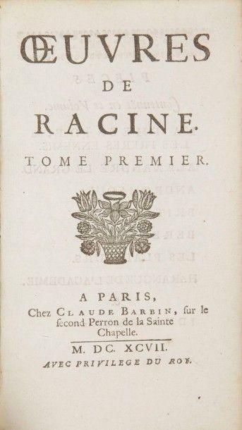 RACINE (Jean) Oeuvres. Paris:Claude Barbin, 1697. ? 2 volumes in-12, (6 ff.), 468...