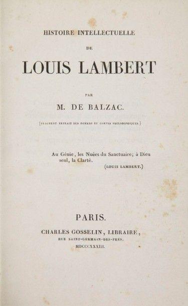 BALZAC (Honoré de) Histoire intellectuelle de Louis Lambert. [Fragment extrait des...