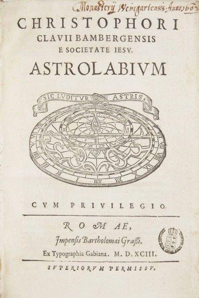 CLAVIUS (Christophorus) Astrolabium. Rome:Bartolomeo Grassi, 1593. ?In-4, (24 ff.),...