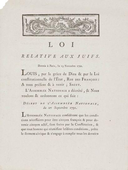 [ÉDITS ET LOIS] Loi relative aux juifs, donnée à Paris, le 13 novembre 1791. évreux,...