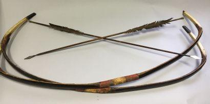 Deux arcs chinois. En corne brune, à prise...