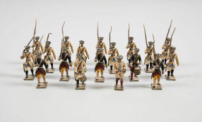 CBG LOUIS XV Dix-huit figurines d'infanterie Louis XV en plomb peint, une série de...