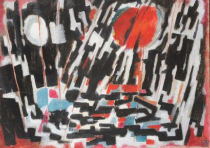 Pierre JOURDA (1931-2007) Sakiet-Sidi-Youssef, 1958 Huile sur toile. Datée en bas...