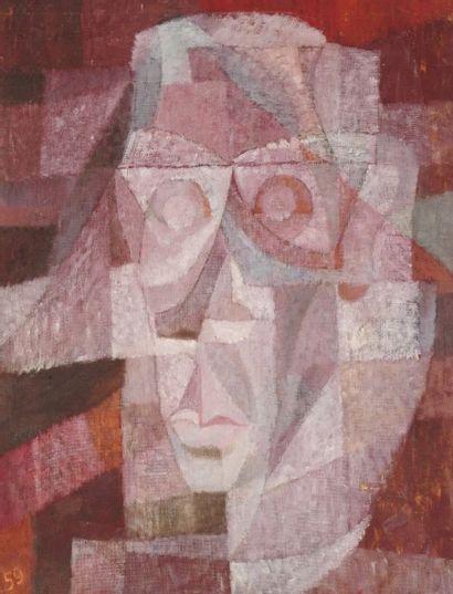 Pierre JOURDA (1931-2007) Portrait de Bascando, 1959 Huile sur toile. Datée en bas...