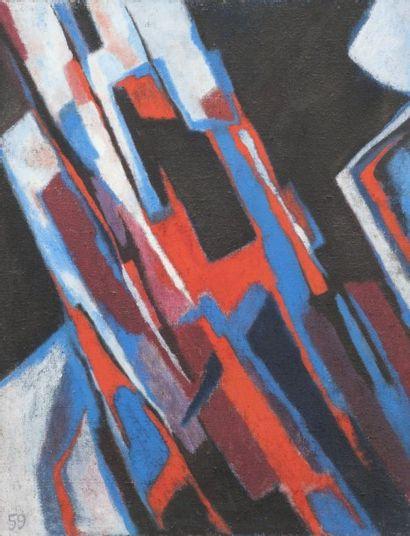 Pierre JOURDA (1931-2007) L'Exilé, 1959 Huile sur toile. Datée en bas à gauche. Porte...
