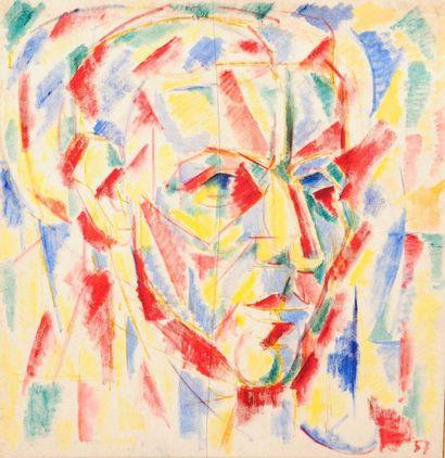 Pierre JOURDA (1931-2007) Autoportrait, 1957 Huile sur toile. Datée en bas à droite....