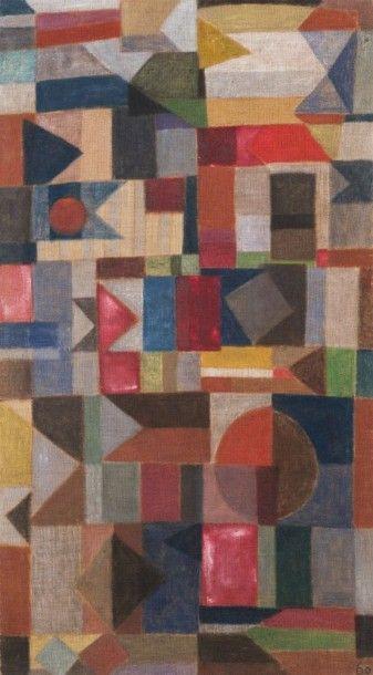 Pierre JOURDA (1931-2007) Composition aux drapeaux, 1960 Huile sur toile. Datée en...