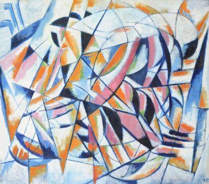 Pierre JOURDA (1931-2007) Cycliste en mouvement, 1958 Huile sur toile. Datée en bas...