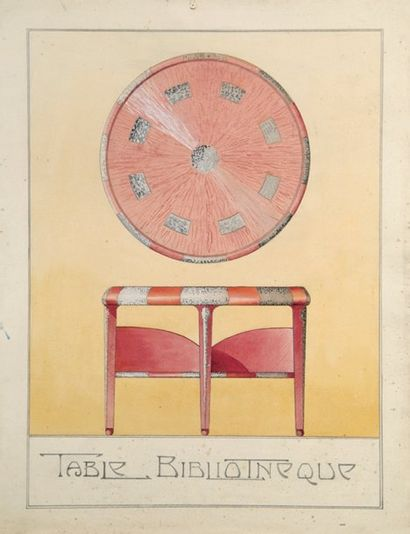Projet de mobilier, anonyme vers 1910 Table...