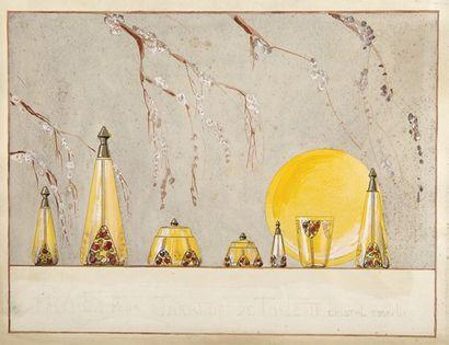 Objets de parfumerie, anonyme vers 1910 Projet...