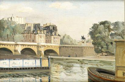 Edmond Ceria (1884-1955) Paris, le Pont-Neuf Huile sur toile. Signée en bas à droite....