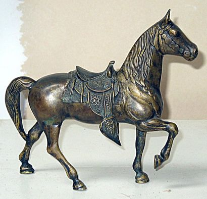Cheval western en bronze, avec selle. Années...